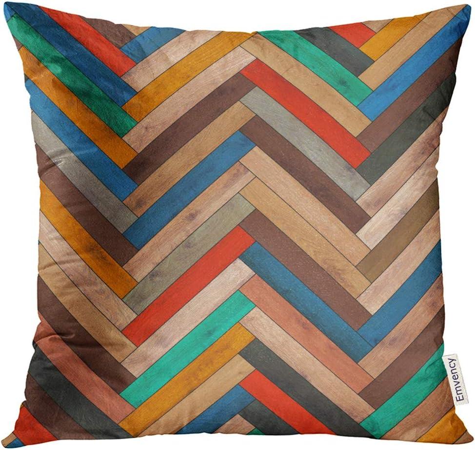 Amazon Com Golee Throw Pillow Cover Colorful Chevron Wood Parquet Herringbone Clipart Arrow Floor Decorative Pillow Case Home Decor Square 18x18 Inches Pillowcase Home Kitchen
