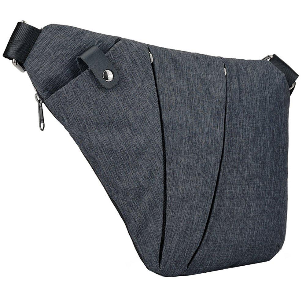 Right Shoulder Sling Backpack Men Chest Pack Polyester Messenger Bag Anti-theft Business Purseright)