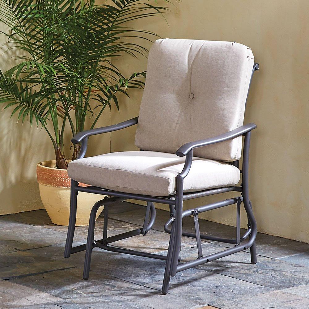The All Weather Arm Chair Glider by Hammacher Schlemmer