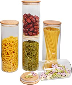 Glass Storage Jars Set with Airtight Bamboo Lids,Spice Jars,Glass Food Storage Containers Set,Spice Jars for Home Kitchen,Pantry,Coffee, Pasta, Flour, Sugar, Candy and More