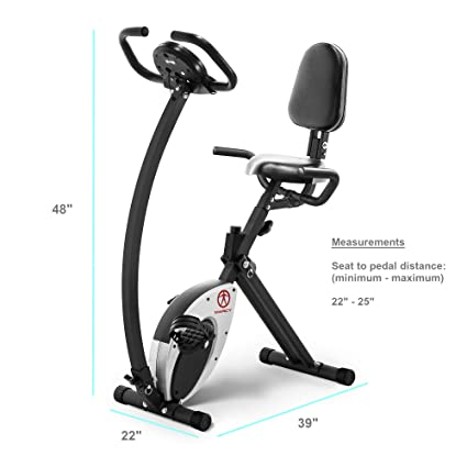 9b737efa6fd Image Unavailable. Image not available for. Color  Marcy Foldable Recumbent  Exercise Bike with High Backrest and Magnetic Resistance NS-653