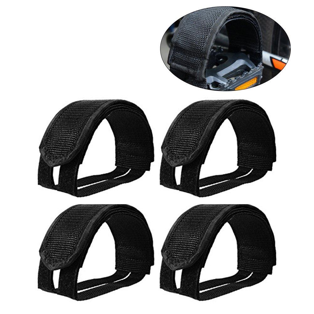 VORCOOLペダルストラップ、4個軽量バイクペダル足ストラップストラップfor固定ギアバイク(ブラック) B07DL6F61Q