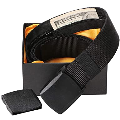 9a642ec101a JasGood Men Money Nylon Belt-Security Pocket Belt for Travel-38mm Width  Black Nylon