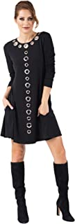 product image for Eva Varro Women's 3/4 SL ML Grommets Short A Line Pocket Dress