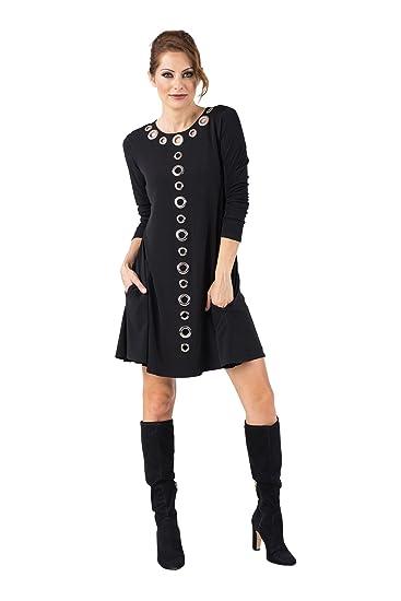 ece2aada618c0f Eva Varro Women s 3 4 SL ML Grommets Short A Line Pocket Dress at Amazon Women s  Clothing store