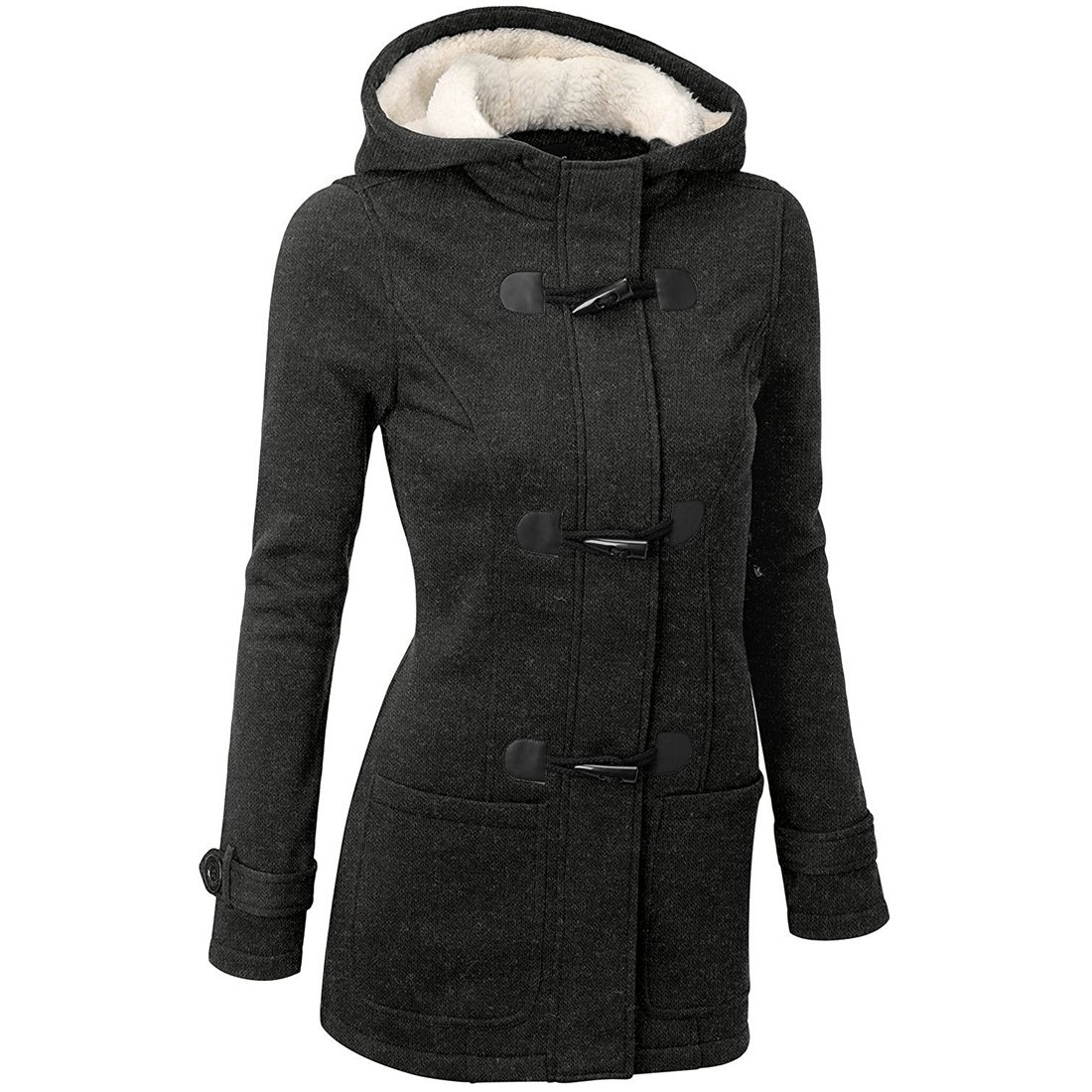 Susanny Womens Winter Fashion Outdoor Warm Wool Blended Classic Pea Coat Jacket