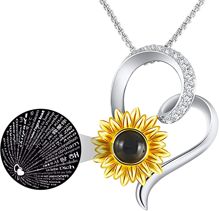 I Love You Necklace 100 Languages Heart Pendant Necklace for Women Girlfriend, You are My Sunshine Sunflower Jewelry Gifts for Valentines Day Birthday