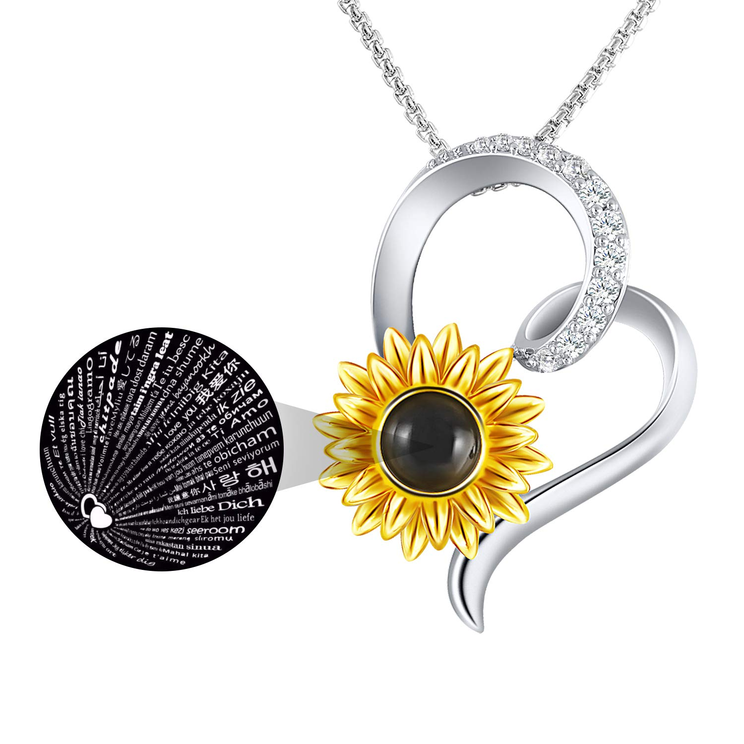 SNZM Heart Necklace for Women -You are My Sunshine Sunflower Pendant Necklace Love Christmas Birthday Jewelry Gifts for Mom Girlfriend