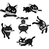 Cat Enamel Pins Set 6 Pieces Cat with Knife Enamel Pins Cartoon Cute Enamel Lapel Pins for Backpack Clothes Gift DIY…