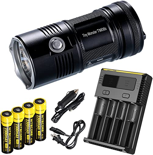 Nitecore TM06S 393 Yard 4000 Lumen Flashlight with 4 x Rechargeable Batteries, i4 Four Channel Smart Charger