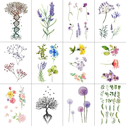 WYUEN 12 PCS/lot Flower Temporary Tattoo Sticker for Women Men Fake Tatoo Body Art Adult Waterproof Hand Stickers 9.8X6cm W12-04