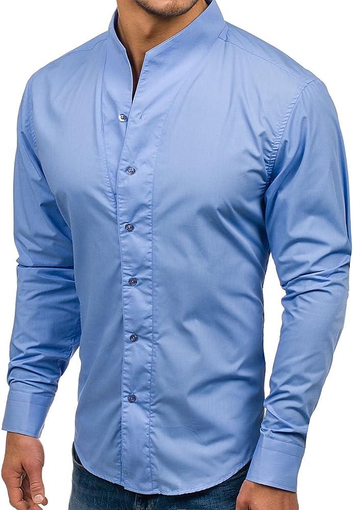 BOLF Hombre Camisa Elegante de Manga Larga Cuello Elevado Slim Fit 5702 Azul Claro L [2B2]: Amazon.es: Ropa y accesorios