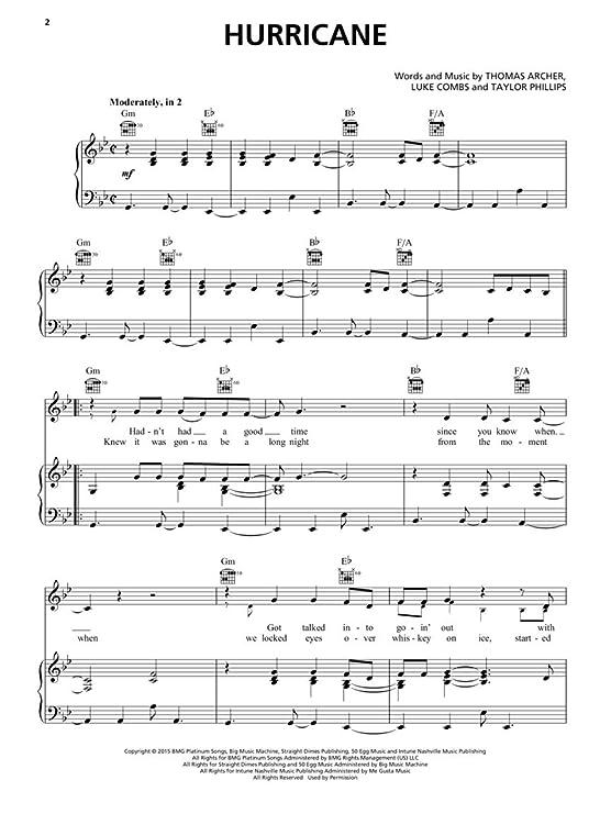Amazon Luke Combs Hurricane Sheet Music Single Musical