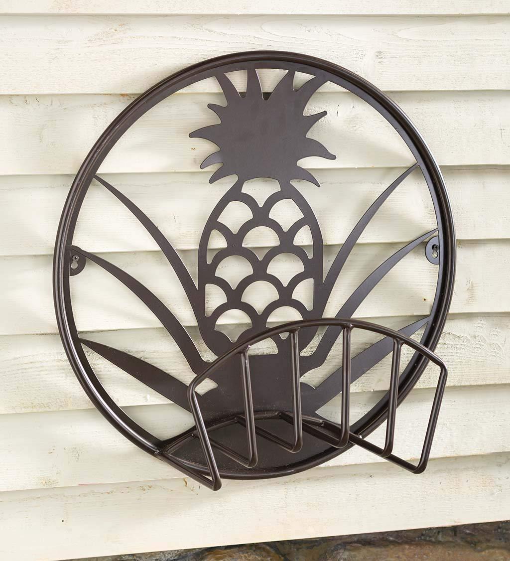 Plow & Hearth Pineapple Metal Hose Holder - 22.75 L x 9.5 W x 22.75 H