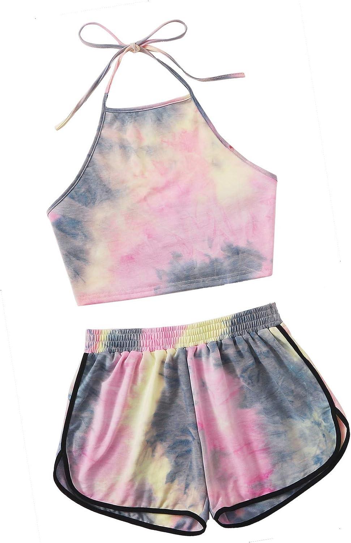 SweatyRocks Womens 2 Piece Set Halter Crop Top and Shorts Set