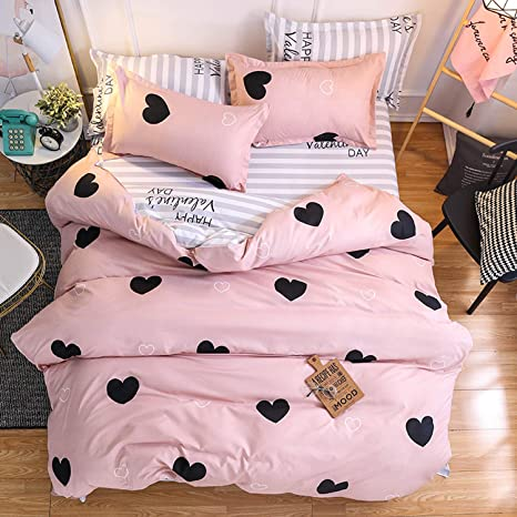 Pink Duvet Cover Twin Size Love Heart Bedding Duvet Cover Lovely Warm Sweet Kids Girls Comforter Cover Love Heart Pattern Quilt Cover Soft Breathable Bed Cover Love Heart Printed Bedspread Cover