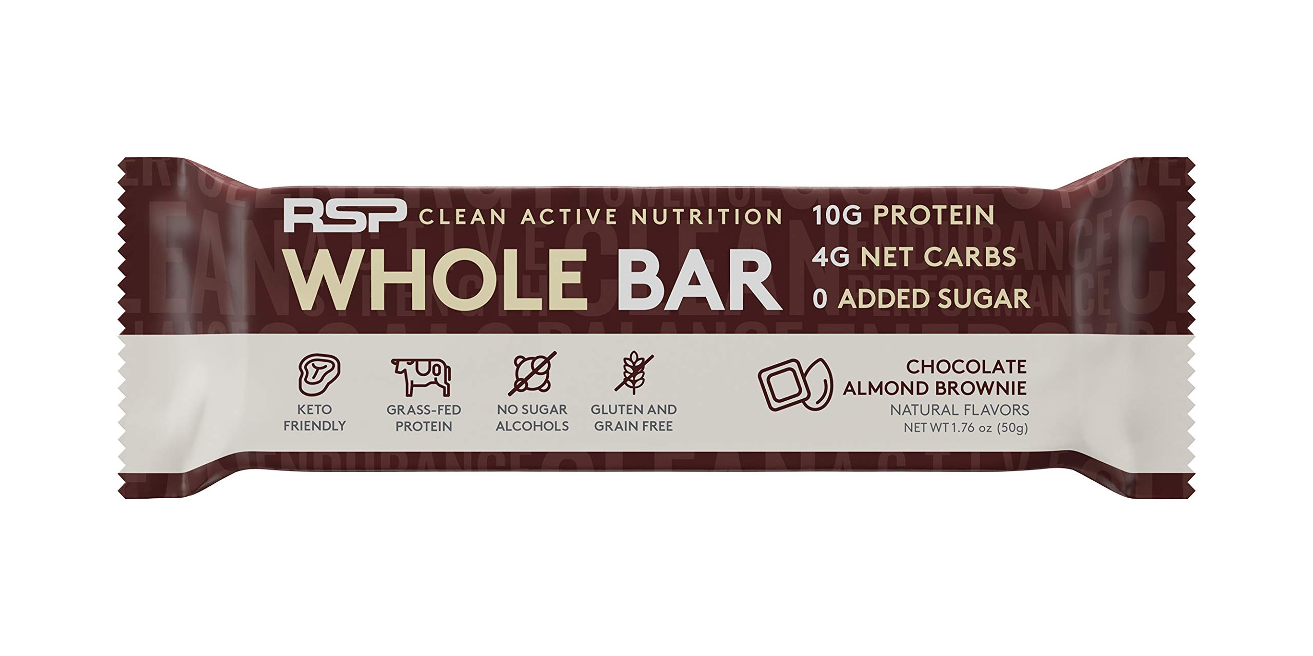 RSP Whole Bar - Low Carb Keto Protein Bar + Quality Fats, 10g Grass Fed Protein, 4g Net Carbs, 19g Fat, Zero Added Sugar, Perfect Keto Snack, Gluten Free, 12 Pack (Chocolate Almond Brownie)