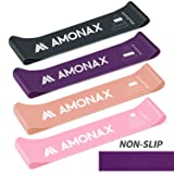 Amonax Mini Resistance Loop Bands Set Women with Guide Printed for Workout Exercise, Yoga, Pilates Flexbands, Stretching, Training. Carry Bag Provided. (Pink+Orange+Purple+Grey(Anti Slip))