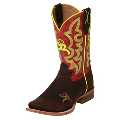 Women's and Neon Yellow Hooey Cowgirl Boot Square Toe - Why0006