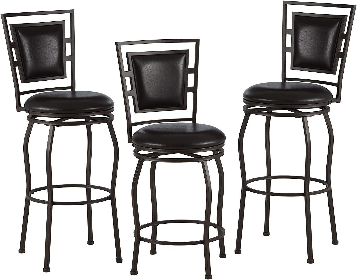 Linon Townsend Three Piece Adjustable Stool Set with Swivel Seat