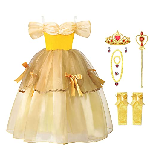 4c96c9a18d9e Muababy Belle Costume for Girls Yellow Princess Dress Party Christmas  Halloween Cosplay Dress up 2-