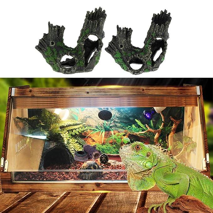 B Blesiya 2 Pcs Acuario Paisaje Hueco Tronco Complimentos Pecera Acuario Plantado Fácilmente Cómodo: Amazon.es: Jardín