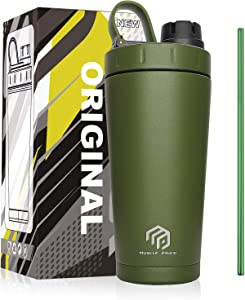 MUSCLE POUND Classic Insulated Stainless Steel Shaker Bottle For Protein Mixes, Double Wall, Leakproof, BPA Free, 20oz (Army Green/Straw)