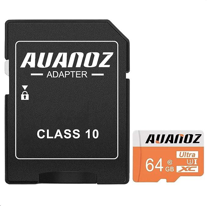 Auanoz Tarjeta De Memoria TF Ultra Class 10 UHS-I Tarjeta De Memoria De Alta Velocidad para Teléfono,Tableta y PC - con Adaptador. (Naranja-64gb)