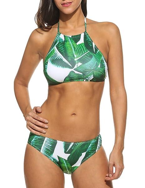 ae98fe3094 Amazon.com  Ekouaer Womens Forest Leaves Printing High Neck Halter Bikini  Set Swimsuit  Clothing