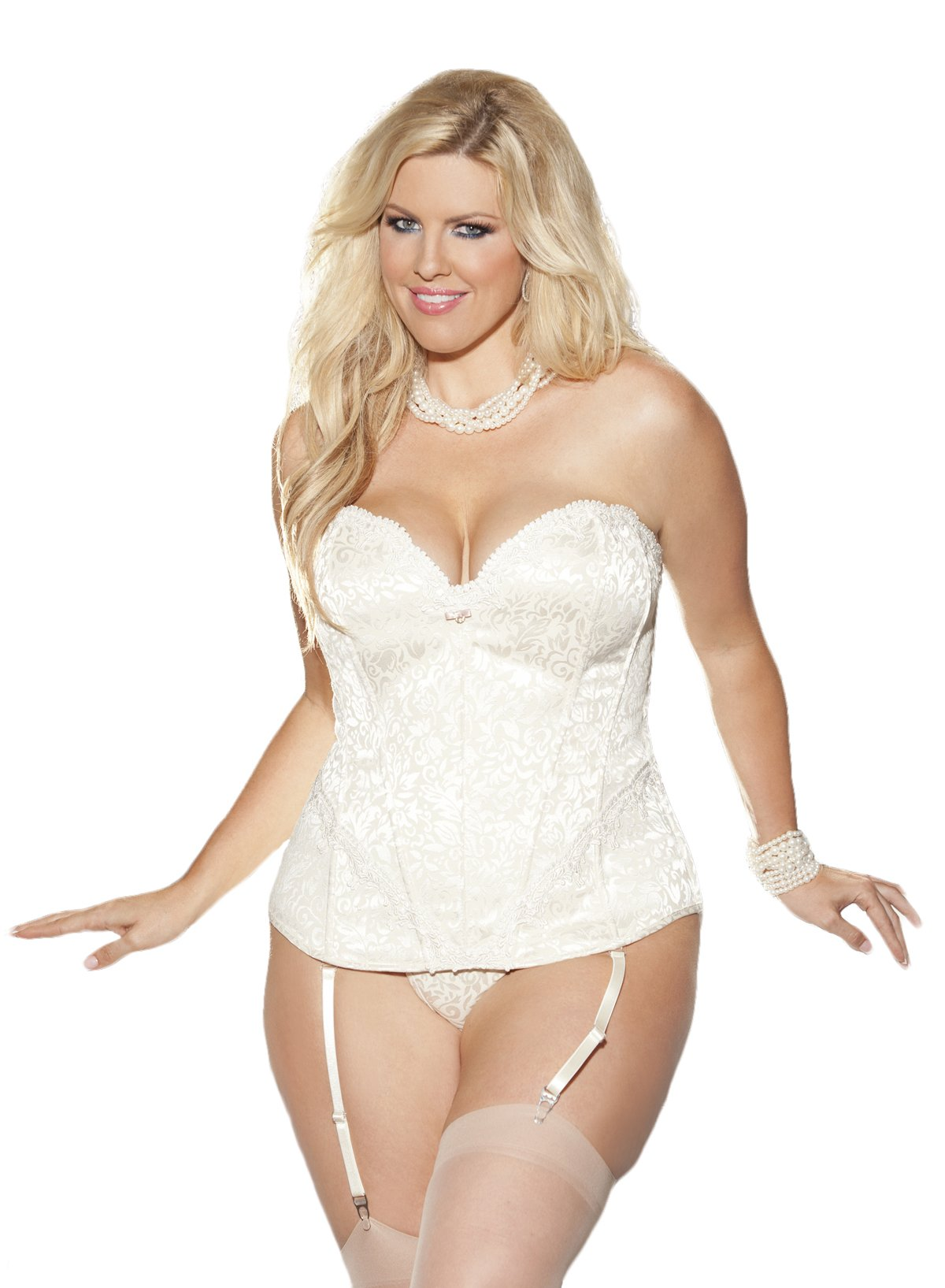 Shirley of Hollywood Women's Plus-Size Tapestry Gartered Corset with G-String, Ivory, Size 44