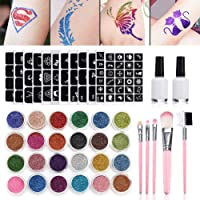 Leikance Glitter Tattoo Set, met 12 Kleuren Glitter 2 Lijmen 5 Borstels 3 Vellen Holle Tattoo Templates