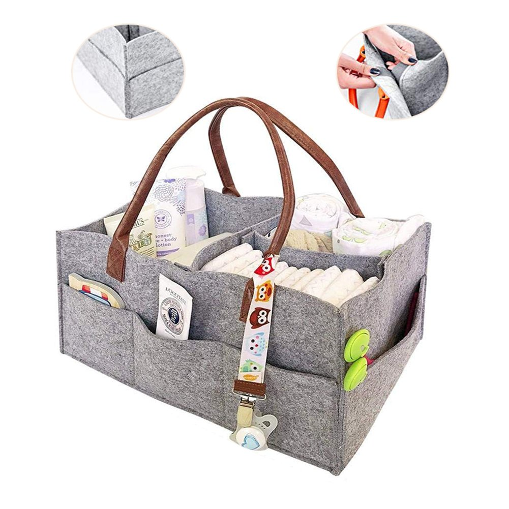 Aochol Baby Diaper Caddy Organizer, Portable Nursery Diaper Tote Bag for Diapers and Baby Wipes, Baby Shower Gift Basket