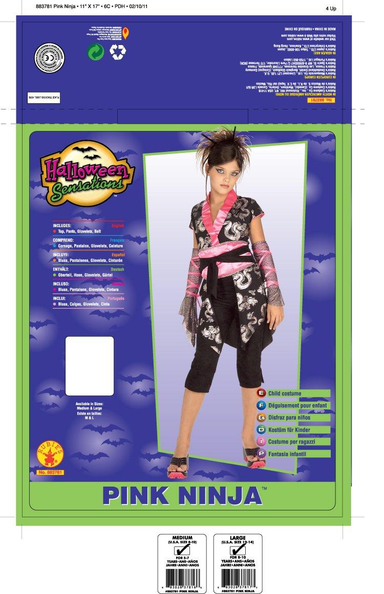Rubies Pink Ninja Costume - Small (2-4)