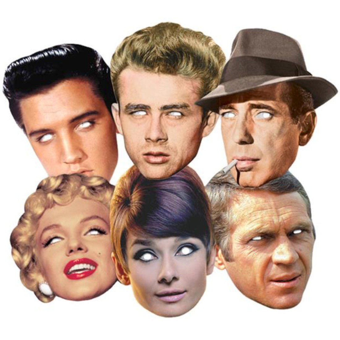 Hollywood Party Karte Partei Gesichtsmasken (Maske) Classic Packung von 6 (Audrey Hepburn, Marilyn Monroe, Elvis, Humphrey Bogart, James Dean und Steve McQueen) BundleZ-4-FanZ Fan Packs