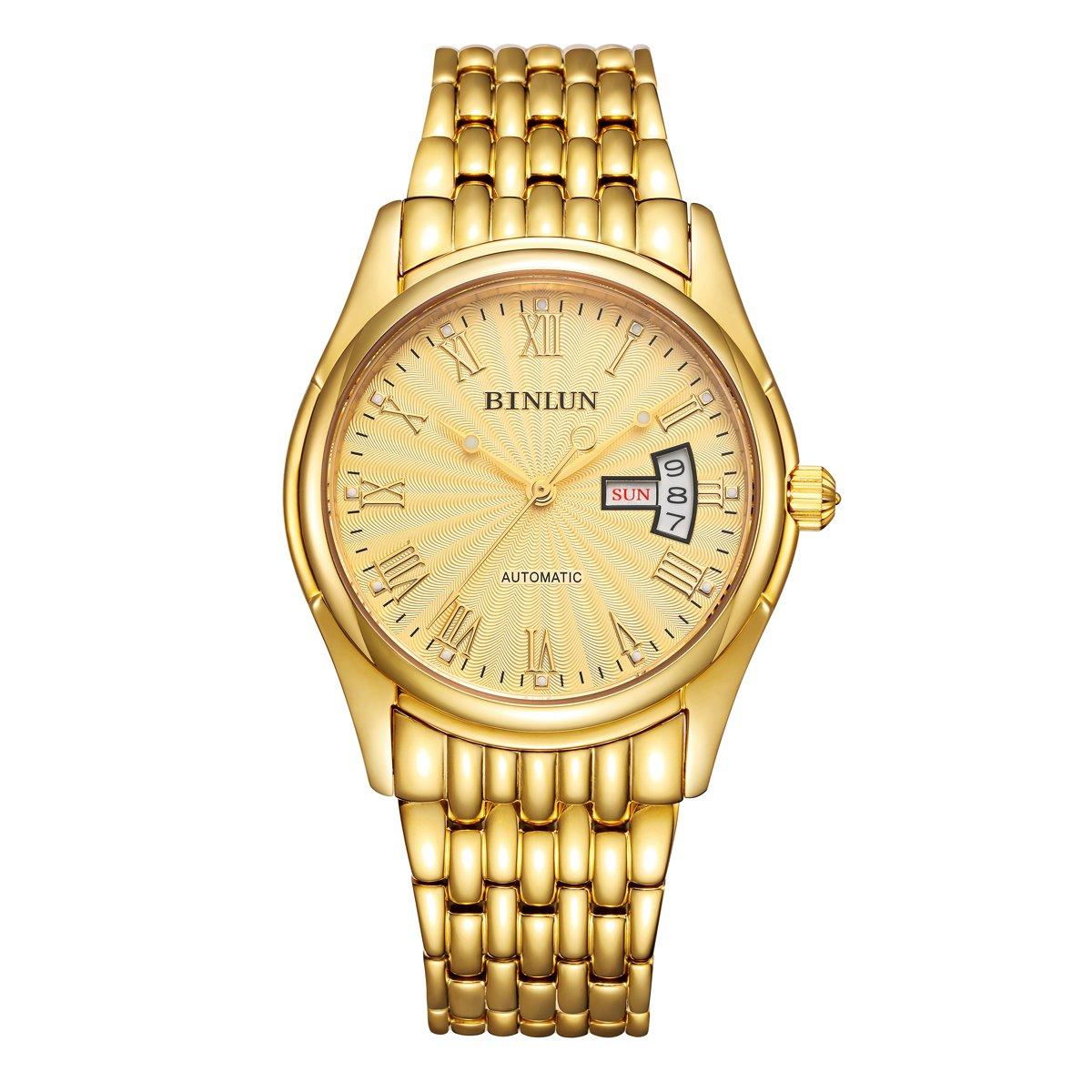 BINLUN 18K Gold Men s Wrist Watch Tourbillon Mechanical Automatic Watches