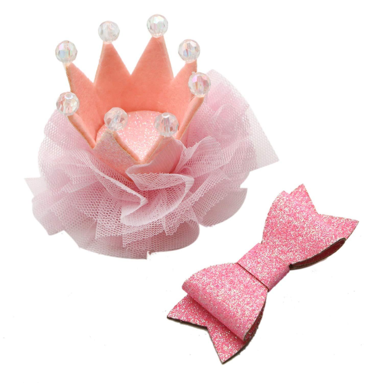 JETEHO ベビーヘアアクセサリー 女の子の赤ちゃん 輝くプリンセスティアラ 王冠 グリッターリボン ヘアクリップセット キッズパーティー ヘアアクセサリー   B07MXNS2XL