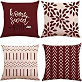 YCOLL Pillow Covers 18x18 Set of 4, Modern Sofa Throw Pillow Cover, Decorative Outdoor Linen Fabric Pillow Case for…