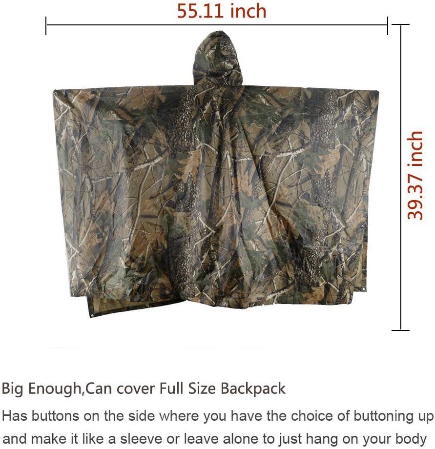 EONANT Poncho Impermeable Ripstop Raincoat Impermeable Camuflaje Militar Capa de Lluvia con Capucha para el Deporte al Aire Libre
