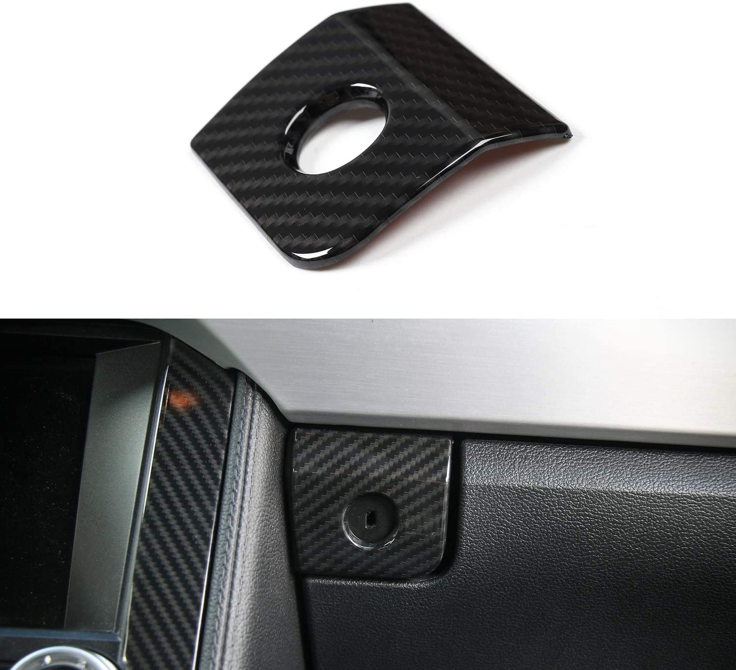 Car Co-pilot Armrest Storage Box Switch Button Frame Cover Trim for Ford Mustang 2015-2017 (Carbon Fiber Grain)