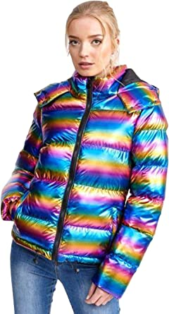 Ladies Brave Soul Hooded Rainbow Coat Puffer Padded Womens Quilted Winter Jacket