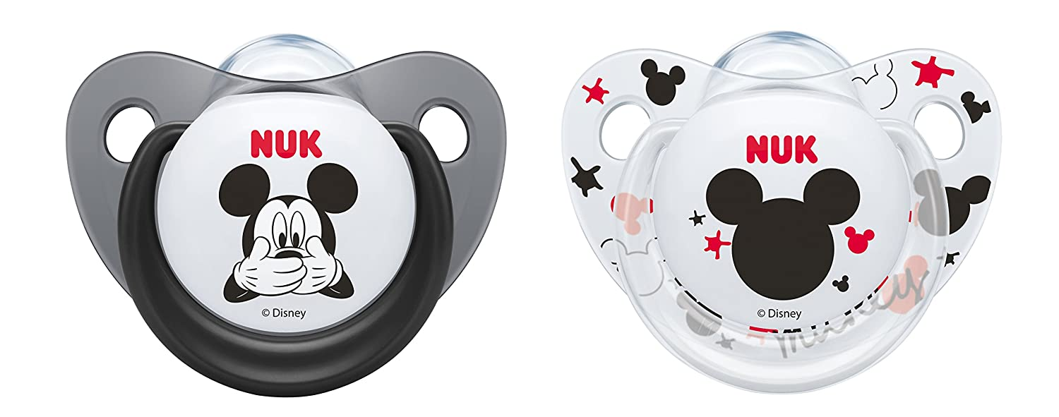 NUK Disney Mickey & Minnie Silicone Orthodontic Soother 2pk (6-18m, design may vary), Multicoloured 10735592