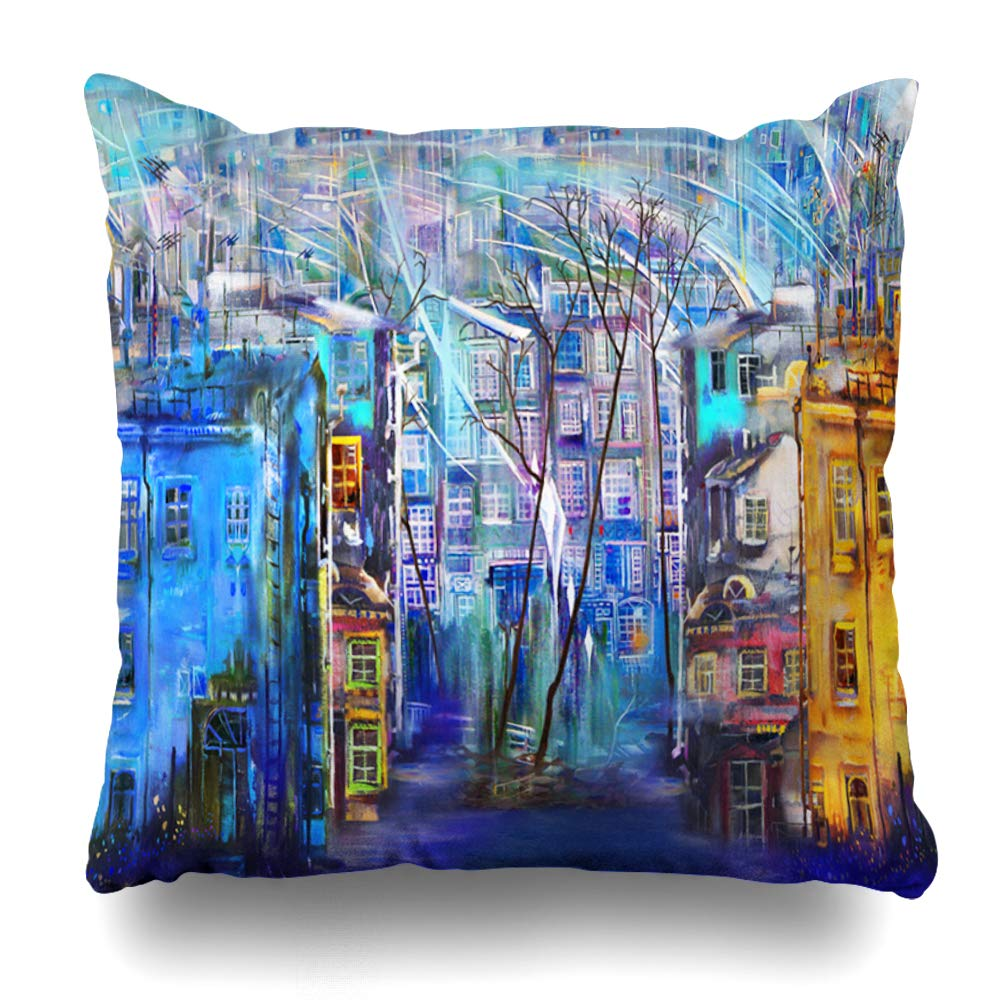 "Ahawoso Decorative Throw Pillow Cover Evening Blue City Cold Night Wind Cityscape Palette Winter Color Impressionism Original Pattern Town Home Decor Pillowcase Square Size 18"" x 18"" Cushion Case"