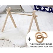 Wood baby gym frame and three wooden rings by LanaCrocheting. Foldable Baby Play Gym, Activity Gym, Hanging bar, Newborn Gift Baby non toxic, natural