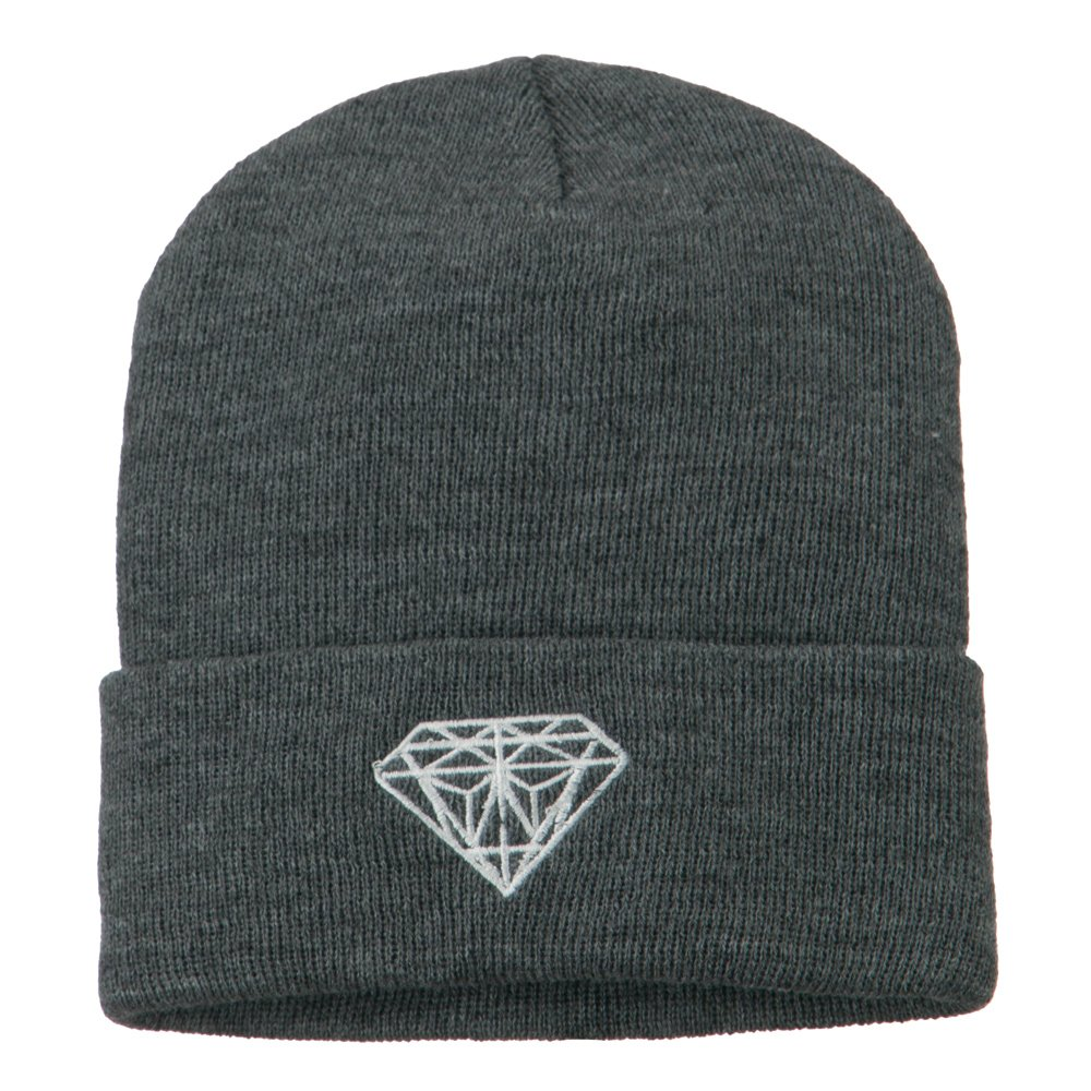 1fda7dc10a1 Amazon.com  White Diamond Embroidered Long Cuff Beanie - Grey OSFM  Clothing