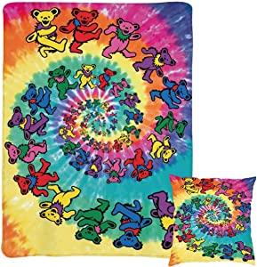 3D Spiral Tie Dye Flannel Fleece Blanket Lamb Blanket and Pillowcase (18''x18'') Two-Pcs Compressed Packaging Lightweight Soft Warm Cozy Throw Blanket Home Decor for Couch, Bed, Sofa, Travel 60x50inch