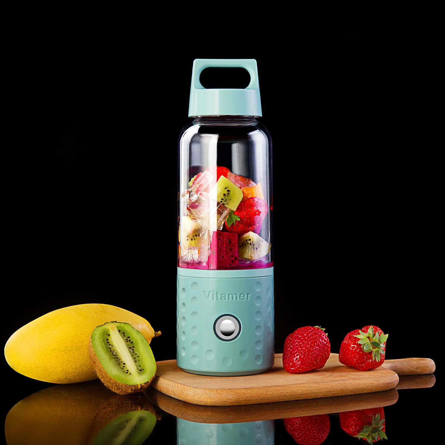Portable Blender, TOPQSC Smoothie Blender USB Juicer Cup, 17oz Fruit Mixing Machine with 4000mAh Rechargeable Batteries, Detachable Cup, Perfect Blender for Personal Use (FDA, BPA Free) - Blue by TOPQSC (Image #5)
