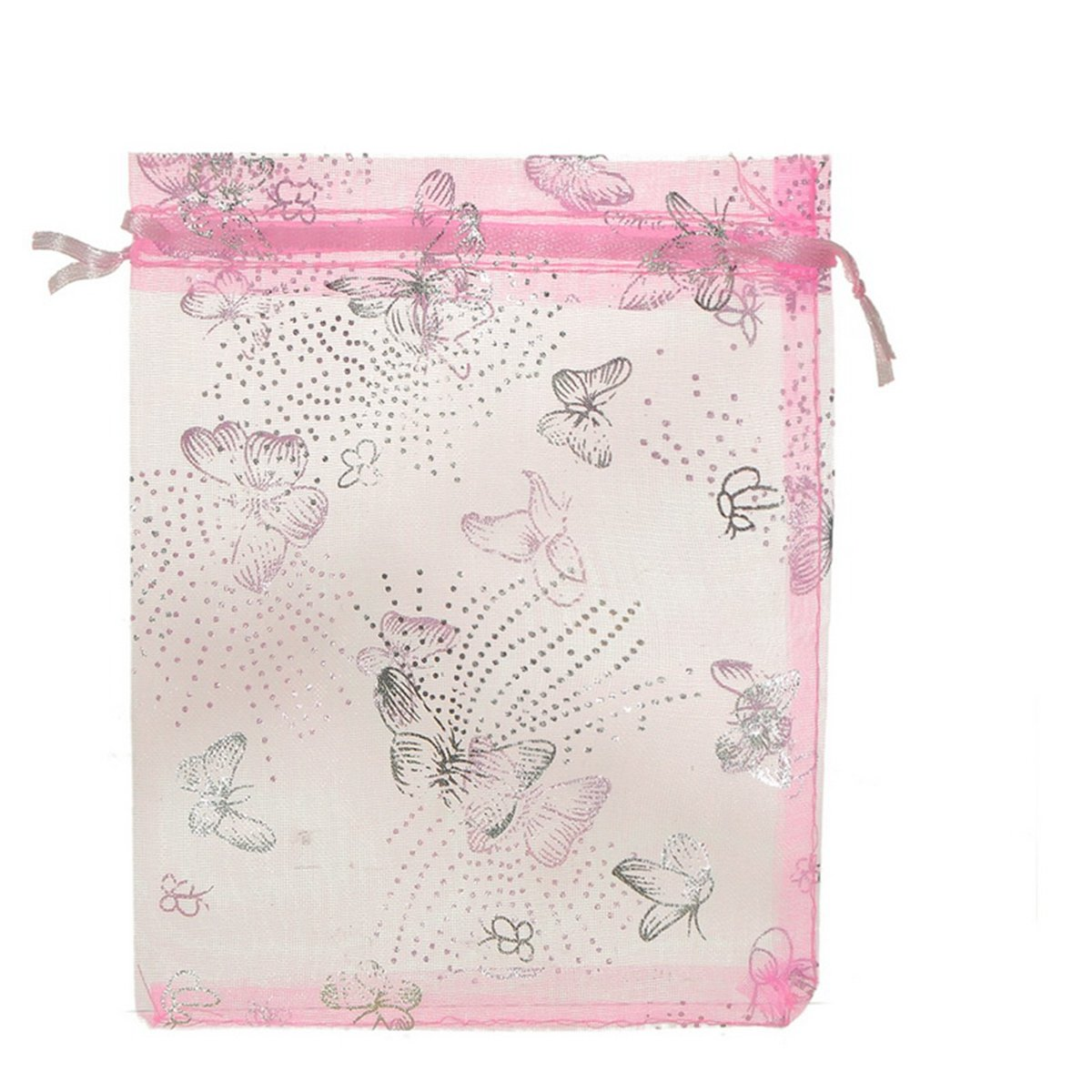 HooAMI 25pcs Butterfly Pink Organza Drawstring Pouches Jewelry Party Wedding Christmas Favor Gift Bags 13cm x16cm BETY81205