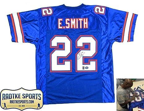 newest c2e49 2ceea Emmitt Smith Autographed/Signed Florida Blue Custom Jersey ...