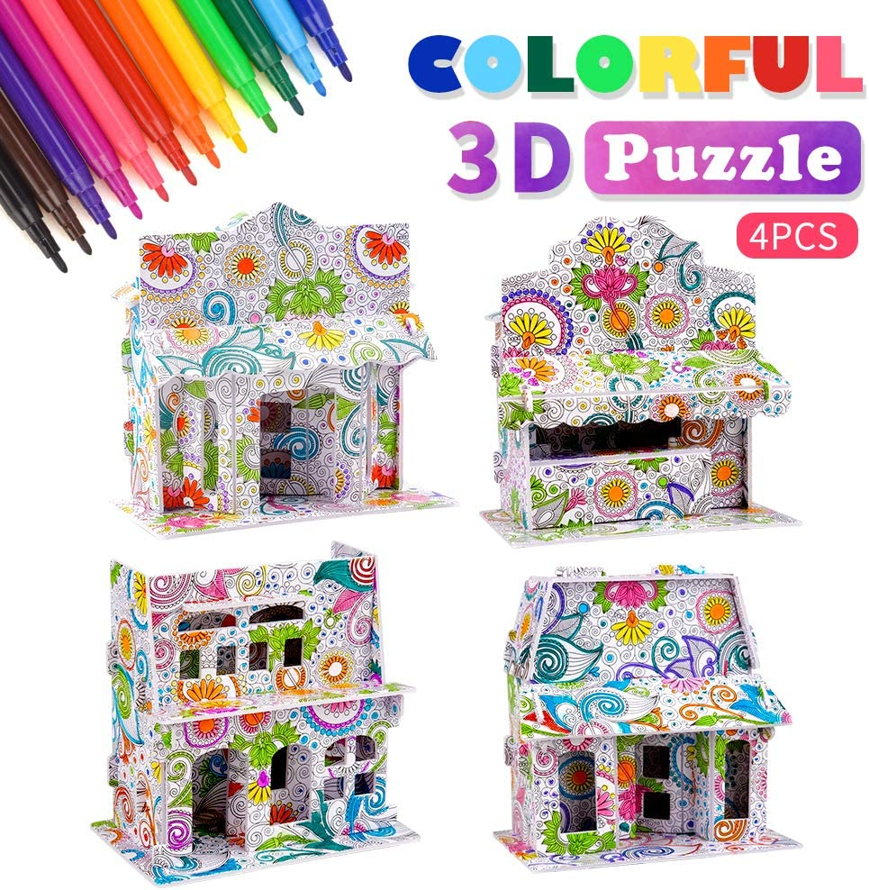 TOPKINWIN 3D Coloring Puzzle Set for Kids, Art and Crafts for Kids Girls Boys 3-12 Year Old