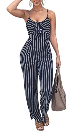 63c6c56ea2b Amazon.com  Rookay Spaghetti Strap Striped Cami Jumpsuit Romper High Waist  Wide Leg Pants for Women Hollow Out Back  Clothing